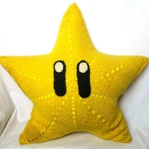 Hand Made Crochet Super Mario Star pillow/cushion